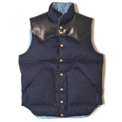 ROCKY MOUNTAIN×WAREHOUSE & CO. INDIGO RIP STOP DOWN VEST NON WASH