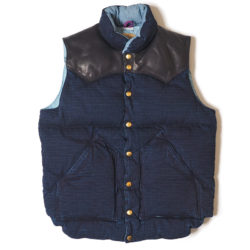 ROCKY MOUNTAIN×WAREHOUSE & CO. INDIGO RIP STOP DOWN VEST LONG WASH