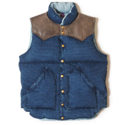 ROCKY MOUNTAIN×WAREHOUSE & CO. INDIGO RIP STOP DOWN VEST USED WASH