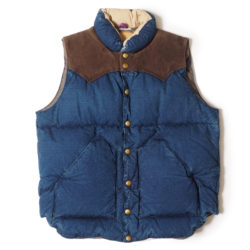 ROCKY MOUNTAIN × WAREHOUSE INDIGO DUCK DOWN VEST USED WASH