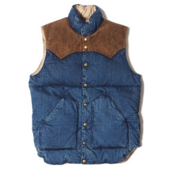 ROCKY MOUNTAIN × WAREHOUSE INDIGO DOWN VEST USED WASH