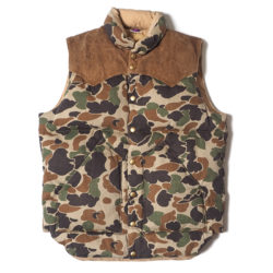 ROCKY MOUNTAIN × WAREHOUSE CAMOUFLAGE DOWN VEST USED WASH