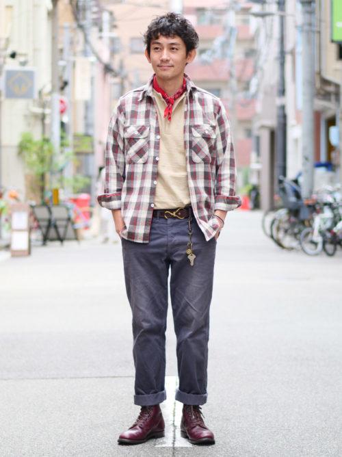大人のネルシャツスタイル